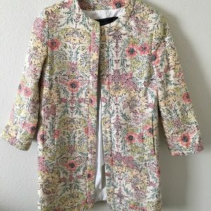 Zara Multicolor Floral Longline Structured Jacket
